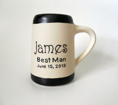 Best Man custom wedding stein. Personalized mugs make great gifts for the men in your wedding party. Each custom mug holds 24 ounces. Color of stoneware is white with black stoneware piping. Fully functional to use and dishwasher safe. Fully signed and dated.  Measures Approximately: 5 5/8 inch...