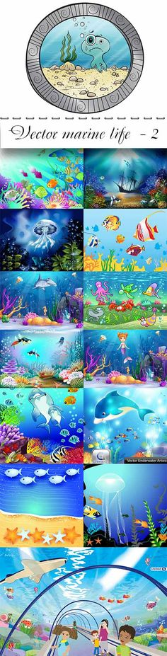 Vector marine life  - 2 Vector Clipart, Marine Life, Clip Art, Night, Illustration, Artwork, Animals, Samana, Game Ideas