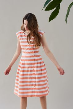 Nancy Peach Stripe Button Through Day Dress | Dresses | Emily and Fin | Emily and Fin