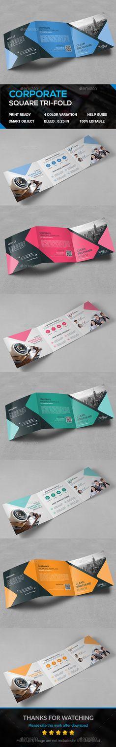 Square Tri-Fold Brochure Template PSD