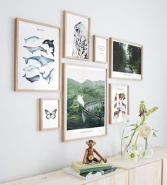 Gallery wall animals nature oak frames - Wall art with posters and art prints. Find inspiration for your personal wall art with posters & art prints from Posterstore.se Spice up your living room or bedroom. Collage Picture Frames, Photo Picture Frames, Frames On Wall, Nature Posters, Love Posters, Inspiration Wand, Poster Store, Black And White Posters, Affinity Designer