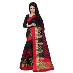 Attractive Black Color Cotton Silk Kanchivaram Saree