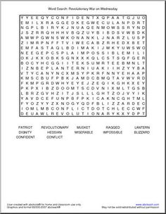 "Word Search: Revolutionary War (primary) - Featuring vocabulary from Mary Pope Osborne's Magic Tree House book ""Revolutionary War on Wednesday"" (this word search can be used without the book). Social Studies Projects, 4th Grade Social Studies, Teaching Social Studies, History Interactive Notebook, Social Studies Notebook, Interactive Notebooks, American History Lessons, World History Lessons, Teaching Us History"