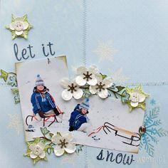 skrap zimowy Mirabeel z użyciem ćwieków śnieżynek i papierowych kwiatków