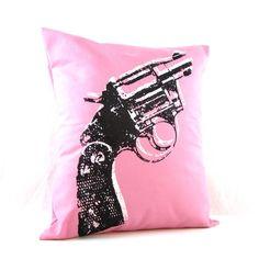 Pink Pillowcase Gun Retro Housewares Idle Threat by MoxieMadness,