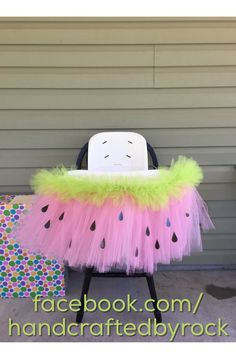 First birthday party. One in a melon theme. Watermelon high chair tutu