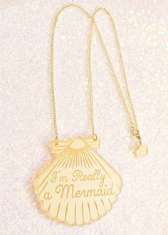 I Love Crafty   A Mermaid gave me this Gold Shell Necklace