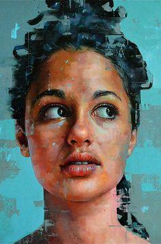 """""""Untitled 6"""" - Silvio Porzionato (Italian, b. 1971), oil on canvas, 2015 {figurative #expressionist art beautiful female head grunge woman face portrait cropped painting} https://facebook.com/silvio.porzionato"""