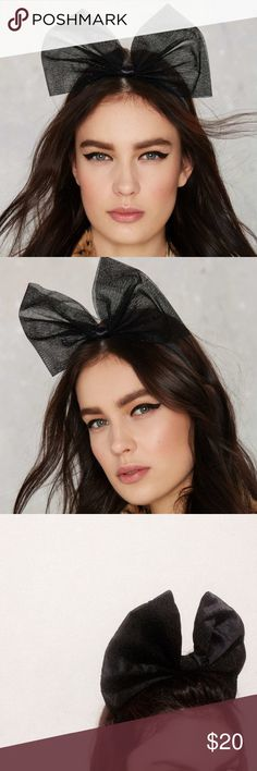 Nasty Gal Bow Head Band NWOT. 3rd and 4th picture are of the actual item. W 12inches H 9inches. Satin type fabric. *price firm* Nasty Gal Accessories Hair Accessories