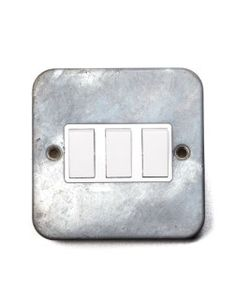 Galvanised Triple Light Switch | Two-Way
