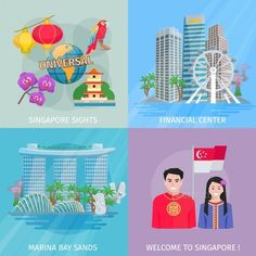 Buy Singapore Culture 4 Flat Icons Square by macrovector on GraphicRiver. Singapore sights 4 flat icons square banner with marina bay and financial center abstract vector isolated illustratio. Singapore Sights, Singapore Art, Vector Graphics, Vector Art, Flat Icons, Scenery, Banner, Behance, Culture