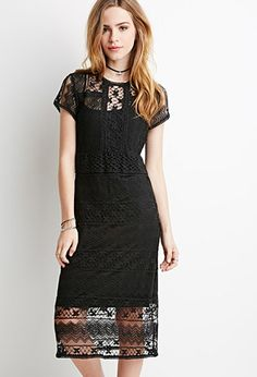 Semi-Sheer Ornate Crochet Dress | Forever 21 - 2000134271