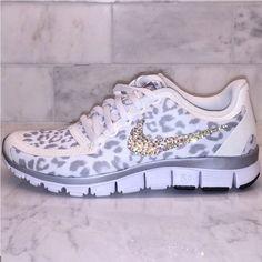 b0945539a6c8 Bling White and Silver Cheetah   Leopard Print Nike Free 5.0 V4 Swarovski