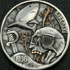 Hobo nickel lost soul pirate hand engraved carved 1936 buffalo coin Hobo Nickel, Lost Soul, Hand Engraving, Buffalo, Coins, Personalized Items, Rooms, Water Buffalo