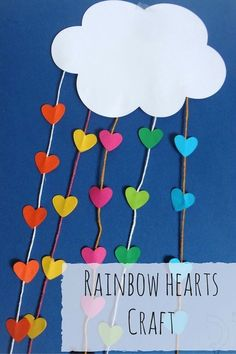A colorful craft for kids that makes a lovely rainbow decoration! A colorful craft for kids that makes a lovely rainbow decoration! St Patricks Day Crafts For Kids, Valentine's Day Crafts For Kids, Valentine Crafts For Kids, Toddler Crafts, Valentines, The Rainbow Fish, Rainbow Heart, Rainbow Decorations, Heart Decorations
