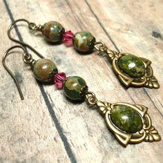 Rhyolite Stones Swarovski Indian Pink Crystal Gold Dangle Earrings | KatsAllThat - Jewelry on ArtFire #wansav