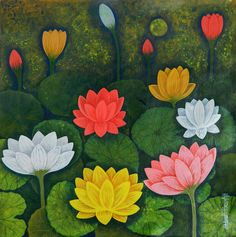 The artist has painted a group of Lotus flowers and buds that bloom in the mud. The lotus symbolizes purity, serenity and grace. Water Lilies Painting, Lotus Painting, Flower Painting Canvas, Simple Canvas Paintings, Lotus Flower Wallpaper, Lotus Flower Art, Lotus Art, Pichwai Paintings, Indian Art Paintings