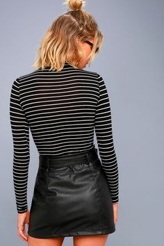 Moto Babe Black Vegan Leather Belted Mini Skirt 3