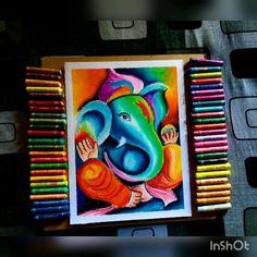 Oil Pastel Drawings Easy, Oil Pastel Paintings, Art Drawings Sketches Simple, Colorful Drawings, Art Paintings, Indian Paintings, Oil Pastel Colours, Soft Pastel Art, Oil Pastels