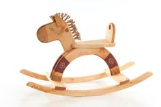 Wooden Rocking Horse eco friendly personalized by FriendlyToys, $159.00. Well made and are just plain awesome toys.