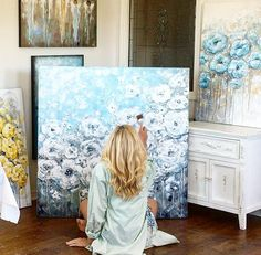 Art, Paintings - Contemporary Palette Knife Abstract Painting Artist, Christine Krainock in the her Southern California art studio, completing an original, abstract, modern, coastal, floral, white flowers painting. Christine's modern, textured, abstract, painting style allows her to create beautiful contemporary fine art which adds a stunning focal point to any home room decor.  Popular subjects include; abstracts, coastal floral flower paintings, seascapes / beach paintings, angel…