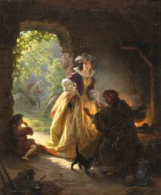 'Gypsy Fortune Teller', 1836 Painting by Daniel Maclise,  Irish, 1811 - 1870