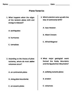 This is the MODIFIED version of the Plate Tectonics Quiz, Test, or WS created for a unit about plate tectonics. Worksheet can also be used as a test or a quiz. Modifications include 3 answer choices only, simplified vocabulary, pictures, larger text, and more white space.