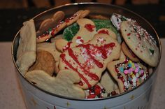 Nothing fancy!  Just a full tin of cookies the kids & favorite nephew made at Christmas time.