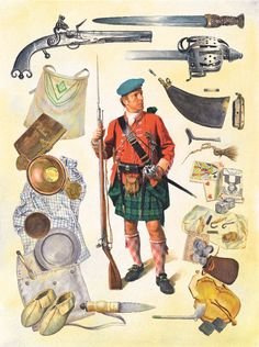 Chapter 8:- The Redoubt:- A private soldier of the 78th Fraser Highlanders with some of the kit he would have carried. Their language, dress and Highland weaponry set them apart from Wolfe's regular battalions and he used them whenever steadfast troops were required, whether it was at the Battle of Montmorency or in the front firing line on the Plains of Abraham.