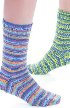 Fun, fast, easy-to-knit basic sock pattern. Let the yarn do all the color work. Sizes S-L. Knit in Patons Kroy Socks on set of four 2.75 mm (U.S. 2) double pointed knitting needles.