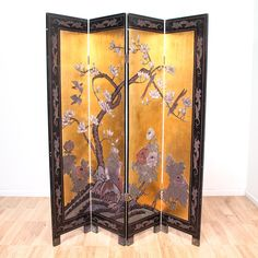 This Chinese gold screen is featured in a solid metal. This two-sided room divider has a beautiful scene depicting birds in a flower tree on one side, a black nature scene on the other, and folds neatly for easy storage. A gorgeous addition to any room!   #asian #decor #decorativeaccents #sandiegovintage #vintagefurniture