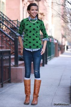 Checkered shirt, polka dot sweater.