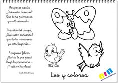 Lee y colorea poemas de la primavera Animal Poems, Dual Language Classroom, Spanish, Preschool, Education, Comics, Learning, Animals, Fictional Characters