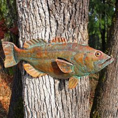 CUSTOM for Leslie - Giant-sized largemouth bass - copper fish sculpture with glass eye - repurposed