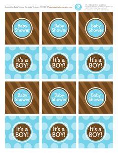 {Free Printable| Baby BOY Cupcake Topper / Tags} Freebie by http://www.etsy.com/shop/appleeyebabyshop