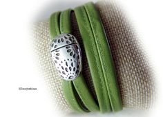 Wickelarmband Damen Lederarmband grün von elfenstuebchen auf Etsy