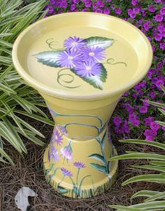Hand-painted & built purple flower birdbath out of terracotta pots Flower Pot Art, Flower Pot Design, Clay Flower Pots, Flower Pot Crafts, Flower Pot People, Clay Pot People, Clay Pot Projects, Clay Pot Crafts, Mosaic Projects