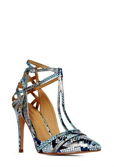 LOVE Darcia in grey and blue reptile. The t-straps are interesting and I particularly love the cutouts in the back. Gorgeous shoe! #justfabonline