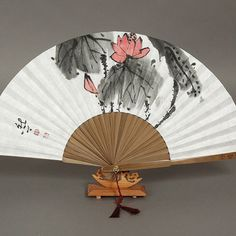 Items similar to Lotus Oriental Painting Korean Sumie real Painting paper fan bamboo paper on Etsy Hand Held Fan, Hand Fans, Korean Painting, Paper Fans, Body Reference, Painted Paper, Traditional Dresses, My Design, Oriental
