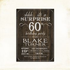 Surprise 60th Birthday Invitation / Any Age / Rustic Invite / Wood Digital…