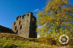 The ruins of Clun Castle seen in autumn, Shropshire, England.