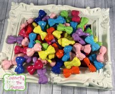 Chunky Bubblegum Beads - Mixed Colour Acrylic Bow - 30mm x 17mm - Chunky Necklace Supplies - DIY - UK SELLER