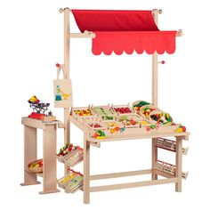 Is it a farmer's market, bakery or lemonade stand - you decide! This sturdy wooden market stand is composed of a large display structure and movable, detachable smaller stand perfect for a ch Farmers Market Display, Market Displays, Craft Show Displays, Market Stands, Bois Diy, Fruit Stands, Ideas Para Organizar, Pop Up Shops, Toys Shop