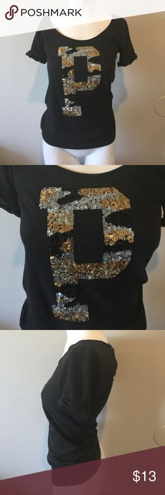 Victoria's Secret tee shirt size s small Sequin P Black sequin top with black gold silver Sequins on the p Victoria's Secret Tops Tees - Short Sleeve