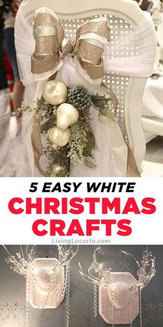 Easy White Christmas Crafts that will make your home feel merry and bright! Love the antlers! These modern farmhouse style crafts are simple and fun to make at home. Beach Party Games, Bridal Party Games, Princess Party Games, White Christmas, Christmas Crafts, Christmas Decorations, Christmas Ideas, Christmas Recipes, Christmas Holiday