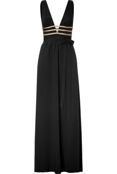 Black and Gold Deep V-Neck Gown