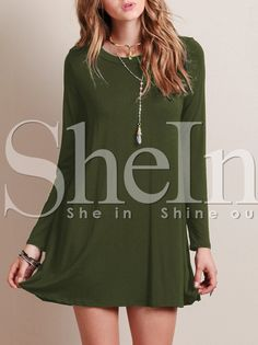 Shop Army Green Round Neck Casual Dress online. SheIn offers Army Green Round Neck Casual Dress & more to fit your fashionable needs.