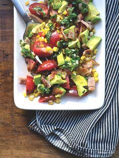 Tomato, Corn, and Avocado Salad with Spicy Vinaigrette
