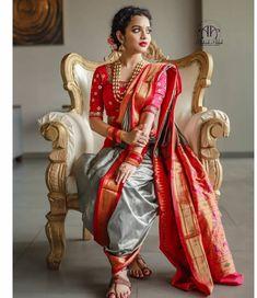 Indian Wedding Gowns, Indian Bridal Fashion, Indian Bridal Wear, Maharashtrian Saree, Marathi Bride, Wedding Saree Collection, Saree Photoshoot, Saree Trends, Stylish Sarees
