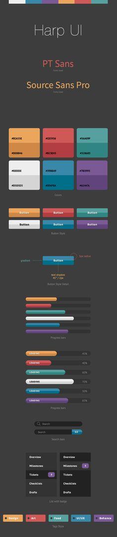 Harp UI Kit by Chen Augus, via Behance